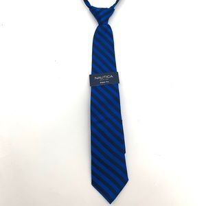 4/$25 Nautica Boys Blue Striped Neck Silk Tie NEW